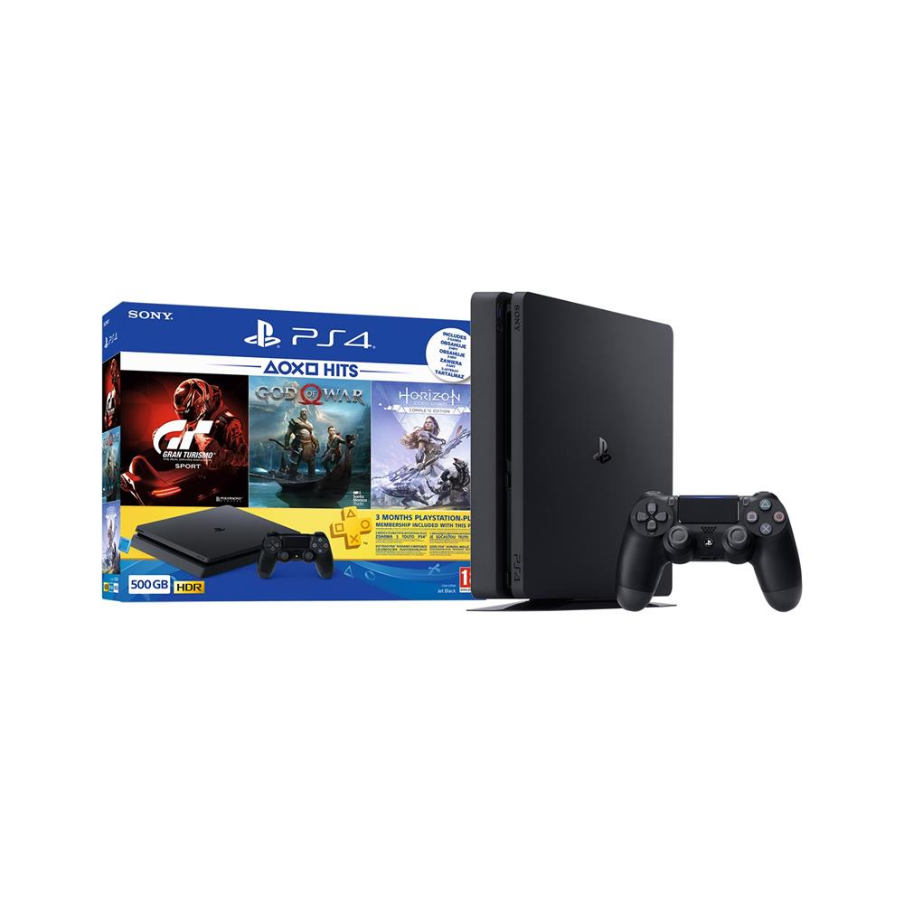 Sony Playstation® 4, komplet 3 iger (GOW, HZD in GTS) in 3-mesečna naročnina za Playstation® Plus