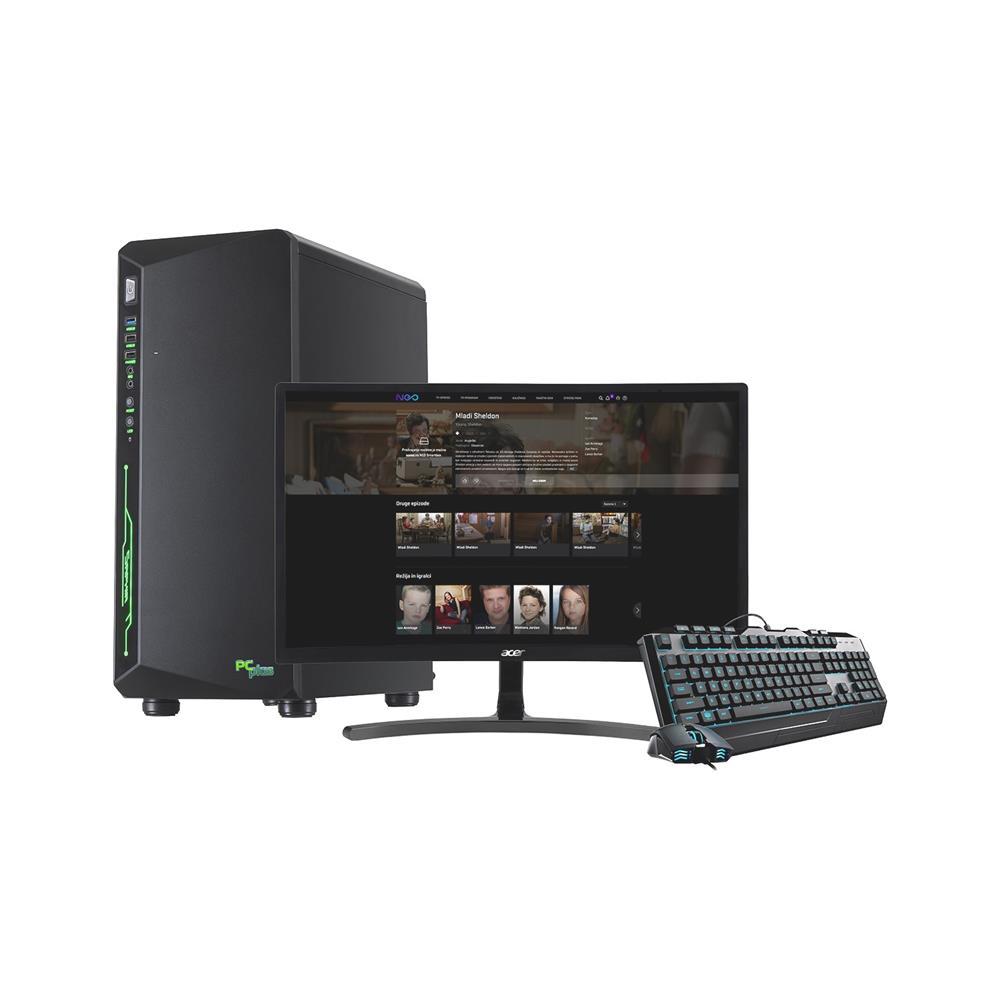 PCplus Računalniški komplet Gamer, ukrivljen monitor ACER, miška in tipkovnica RGB