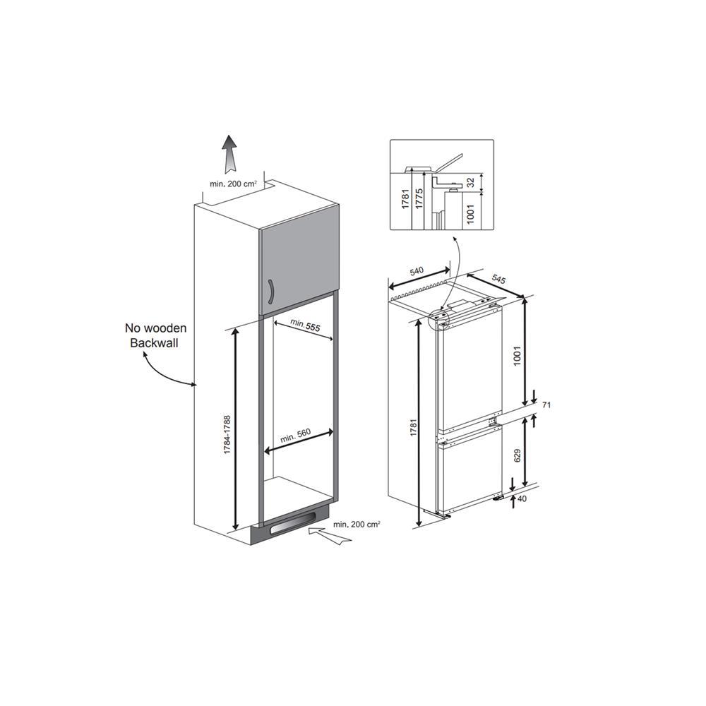 Beko Vgradni hladilnik z zamrzovalnikom BCSA283E2S