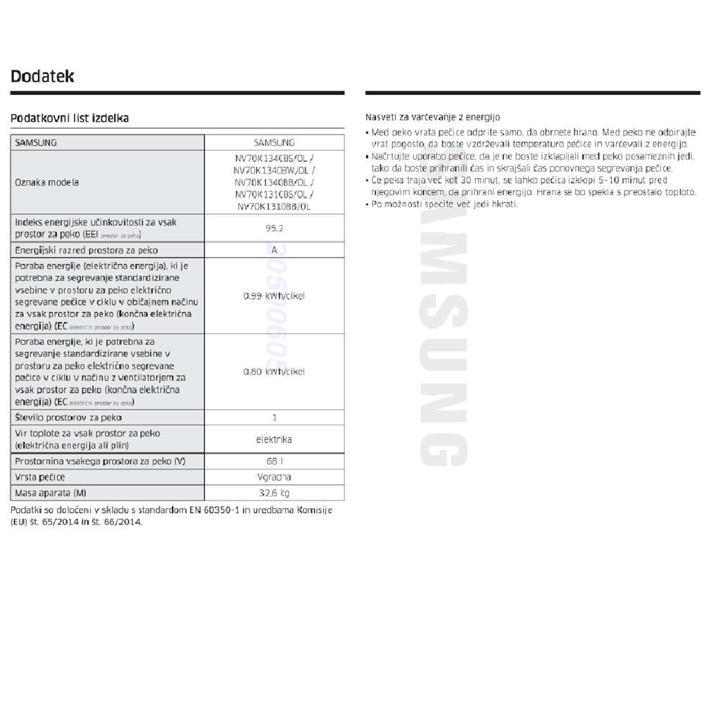 Samsung Komplet steklokeramična kuhalna plošča CTR164NC01/BOL in električna pečica NV70K1340BB/OL