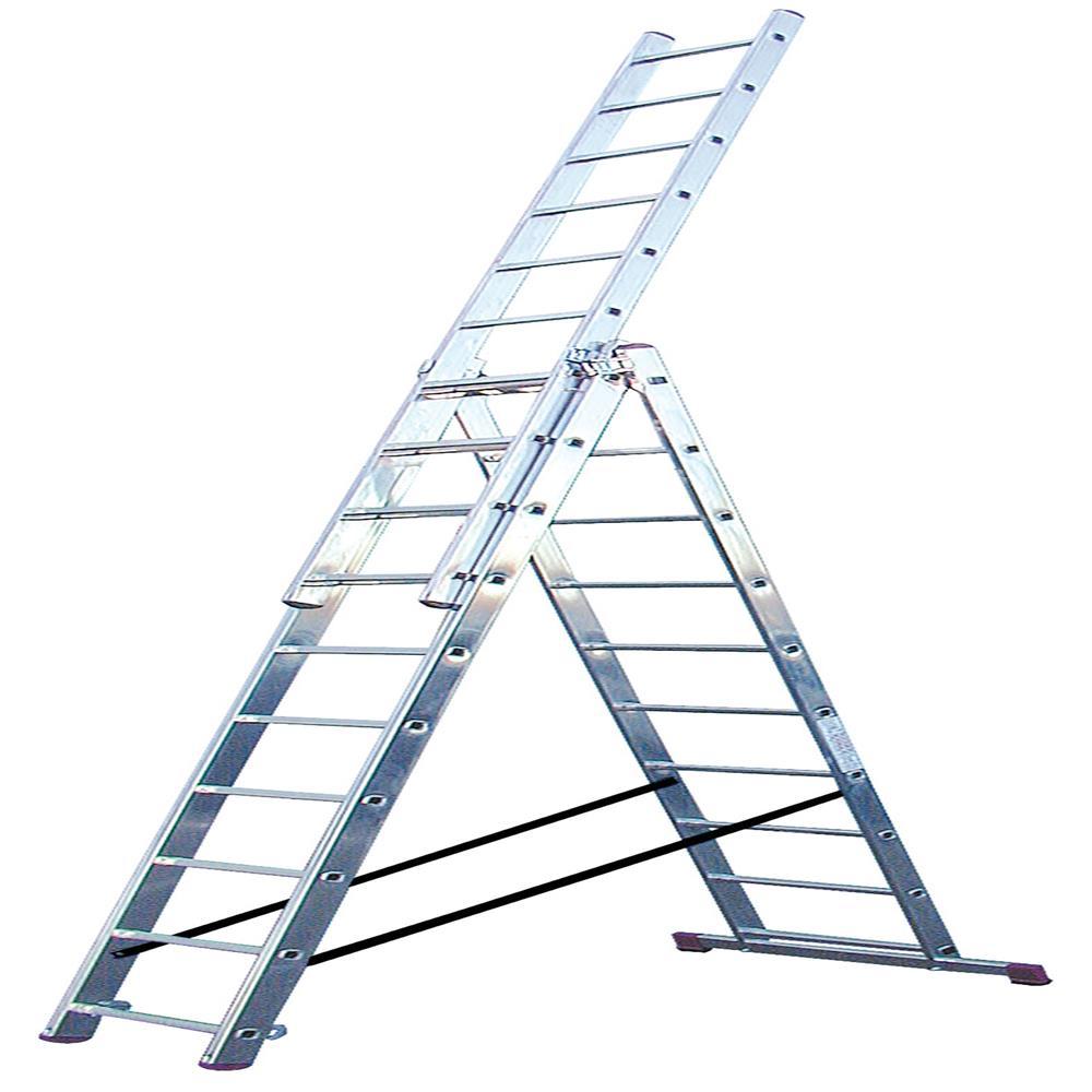 KRAUSE Aluminijasta trodelna lestev 3x10 stopnic