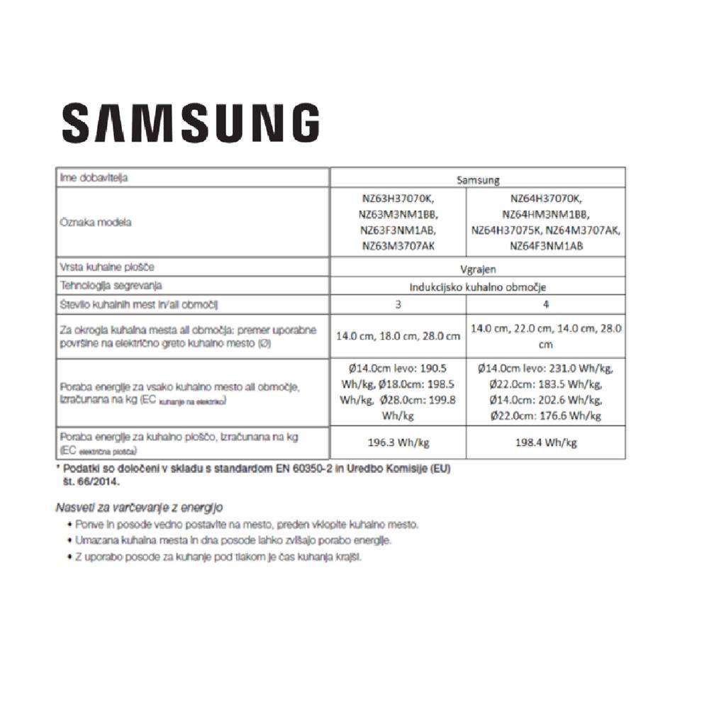 Samsung Indukcijska kuhalna plošča NZ64M3NM1BB/OL