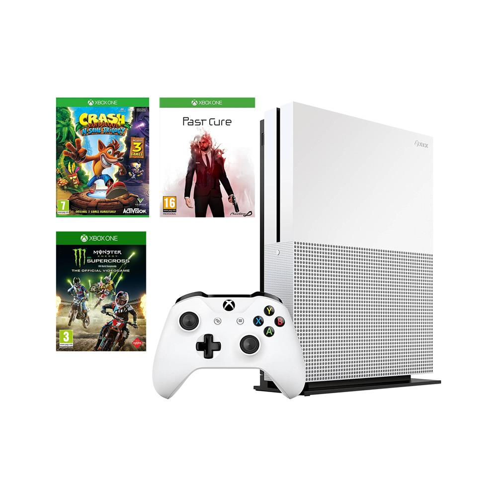 Microsoft Xbox One S in 3 igre (Past Cure, Monster Energy Supercross in Crash Bandicoot n.SANE Trilogy)