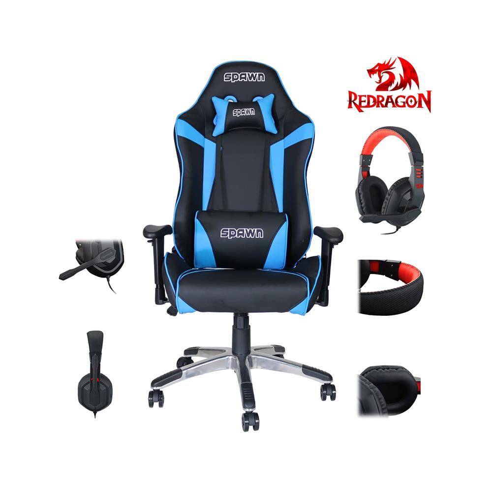 Spawn Gamerski stol Champion Series in darilo slušalke Redragon Ares H120