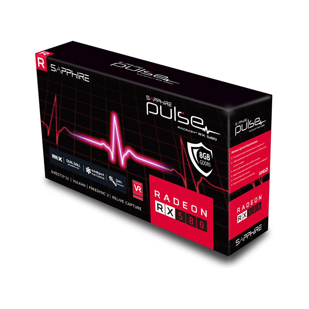 SAPPHIRE Grafična kartica Pulse RX 580 8G GDDR5 OC (11265-67-20G)