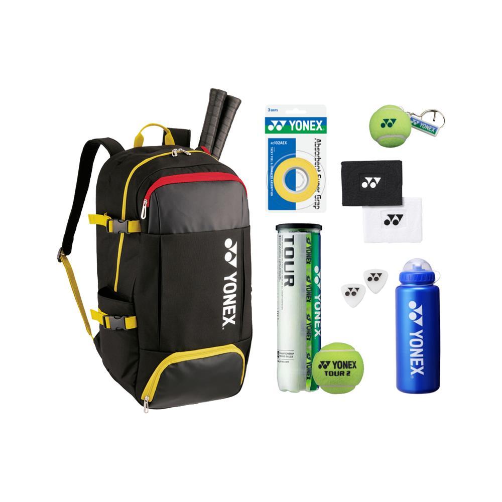 YONEX Set za tenis (nahrbtnik, žogice, grip, obesek, bidon, znojnik, gumica za lopar)