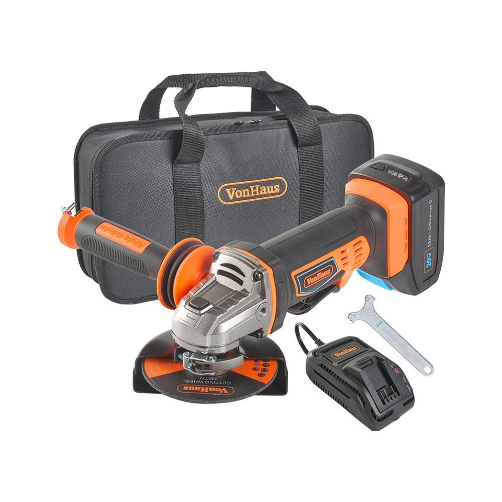 VonHaus Akumulatorski kotni brusilnik in 20V D-Series 3.0Ah baterija 3500006