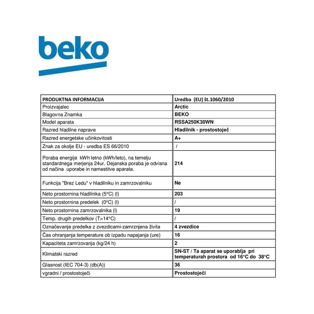 Beko Hladilnik RSSA250K30WN