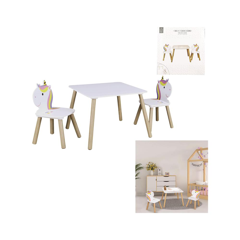 Home Deco Kids Otroški set Unicorn Deco, mizica in 2 stola