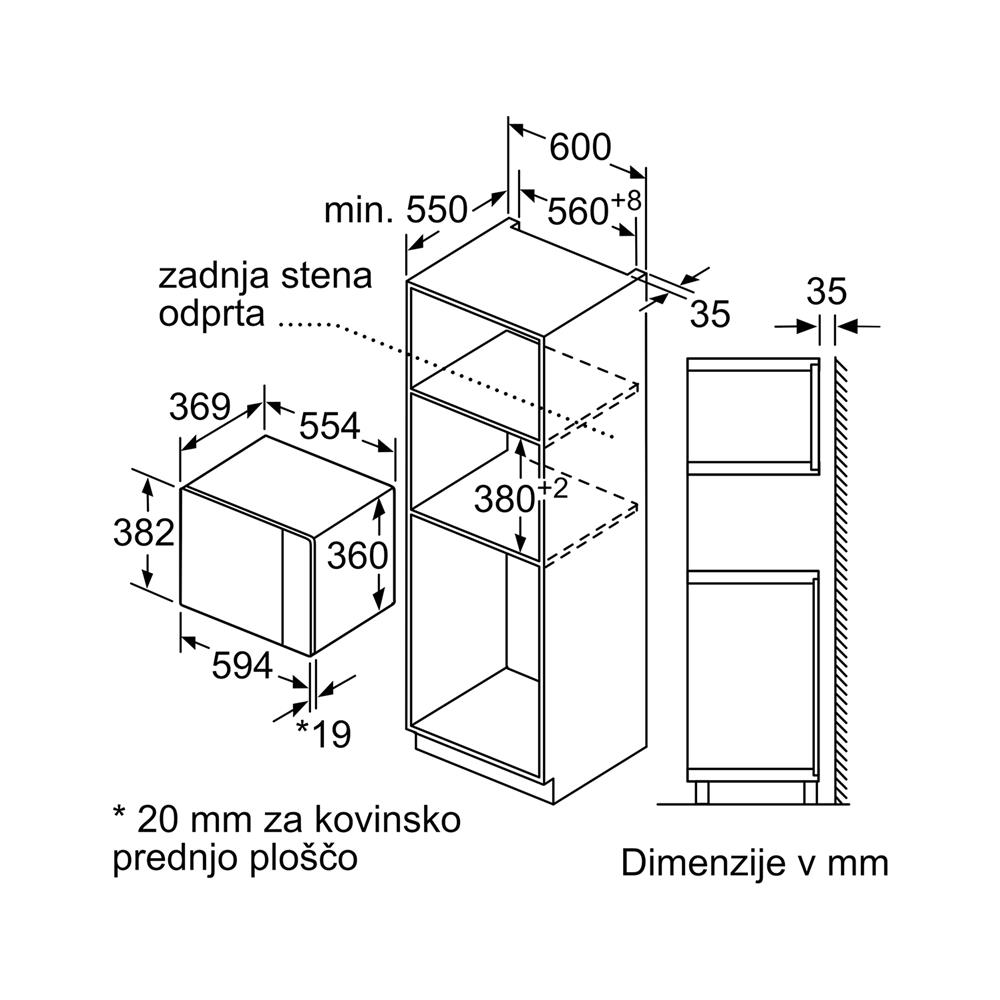 Bosch Vgradna mikrovalovna pečica BFL554MB0