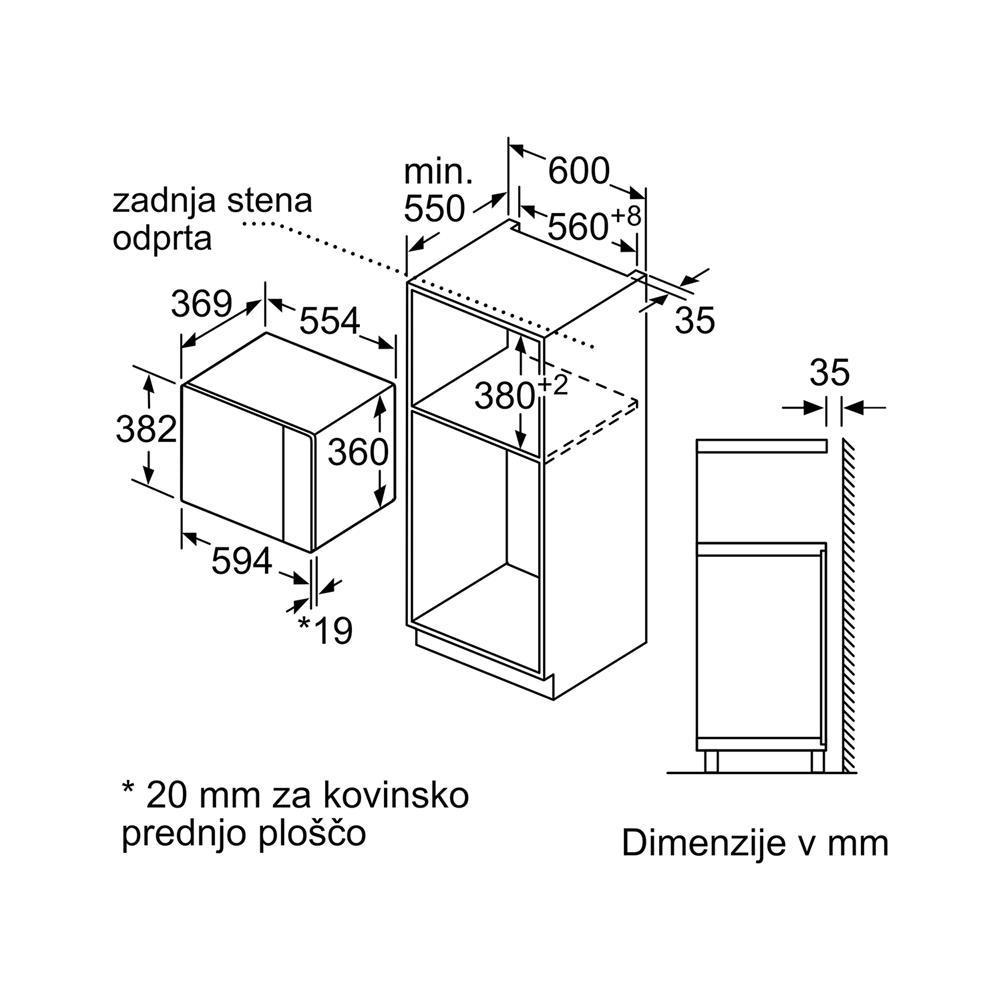 Bosch Vgradna mikrovalovna pečica BFL554MS0