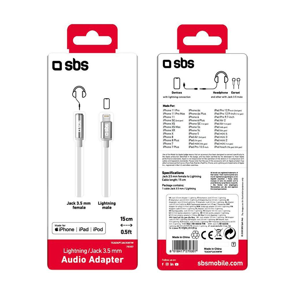 SBS Adapter Lightning to Jack (TEADAPTIPJACK35W)