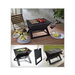 Perfect Home Prenosni zložljivi grill na oglje črna