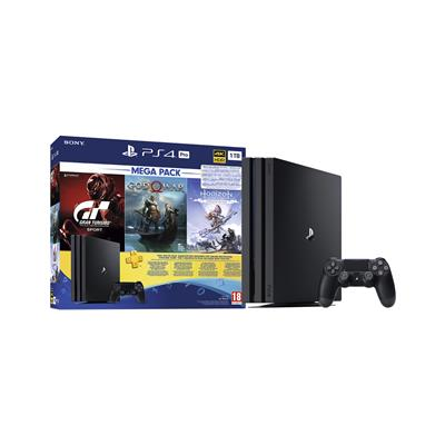 Sony PlayStation® 4 Pro, komplet 3 iger (GOW, HZD in GTS) in 3-mesečna naročnina za Playstation® Plus