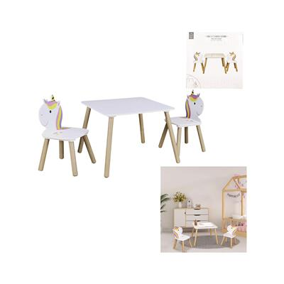 Home Deco Kids Otroški set Unicorn Deco, mizica in 2 stola