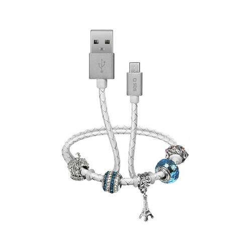 SBS Podatkovni in polnilni Micro USB kabel z okraski (TESLCABLECHARMMICW)