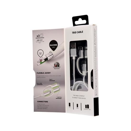 SBS Podatkovni in polnilni kabel Micro USB, Lightning, Type-C (TECABLEUSBIP531W)